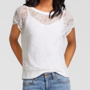 CABI Sheer Lace Top Style #5342 White Double Snap